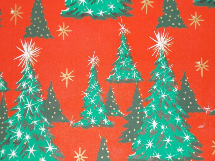 VTG CASCADE CHRISTMAS WRAPPING PAPER GIFT WRAP NOS TREES & STAR ON RED 1950 | eBay