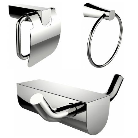 Chrome Plated Towel Ring And Robe Hook With Modern Toilet Paper Holder Accessory Set, Silver