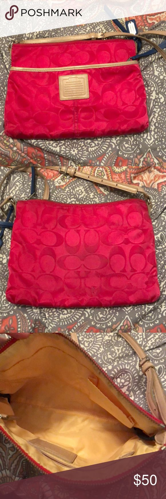 Coach crossbody Pink coach purse with blue zippers and yellow insides. Has a small blemish on the back. Coach Bags Crossbody Bags