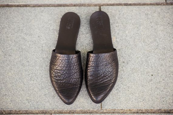 SALE 30% OFF Black leather sandals / Open back by WalkByAnatDahari