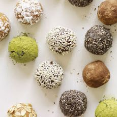 5-Minute Protein Truffles Recipe with nuts, honey, fine sea salt, vanilla whey protein powder, miniature semisweet chocolate chips, cocoa powder, shredded coconut, nuts, seeds, dried fruit, matcha green tea powder, quick oats