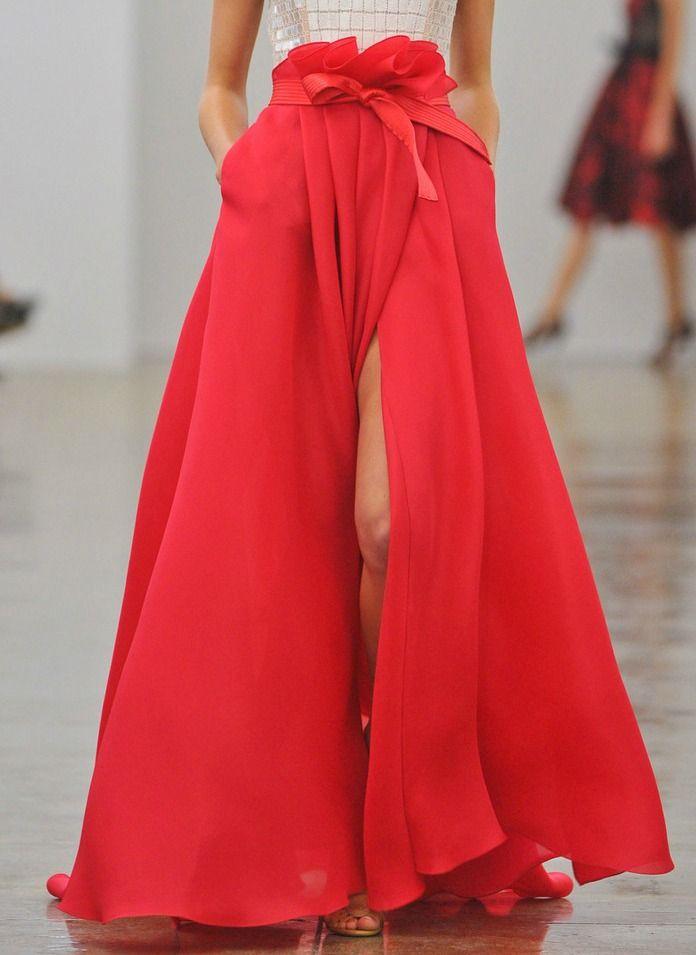 carmen marc valvo s/s 2013: Valvo Spring, Carmenmarcvalvo, Carmen Marc Valve, Fashion Week, Carmen Dell'Orefic, New York Fashion, Spring 2013, Red Skirts, Maxi Skirts