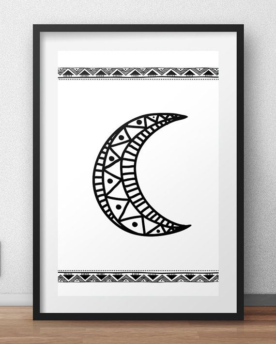 Moon, Black and White Wall Art, print wall art, home decor, nursery, art posters, poster art prints, Wall Art, Printable, Instant Download  This is a