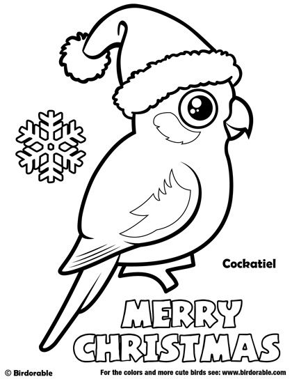 Birdorable Cockatiel Christmas Coloring Page