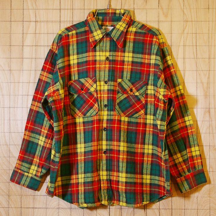 【5Brother】60s-70sUSA製ビンテージ古着レッド(赤)✕イエロー(黄)✕グリーン(緑)チェックシャツ・ネルシャツ サイズXL相当