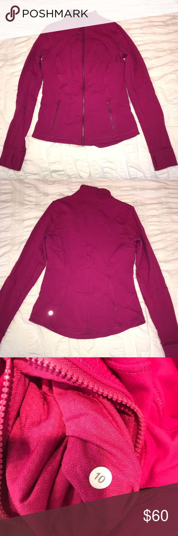 Lightweight Lululemon Zip-Up Jacket Lululemon zip up jacket (lightweight). Women's size 10, pink/magenta color. Very lightly used (only worn a couple times)!! Open to price negotiations!! lululemon athletica Jackets & Coats