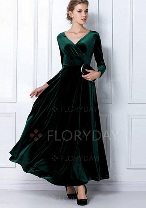 Kjoler - $90.92 - Polyester Plain Trekvart ermer Maxi Elegant Kjoler (1955110134)