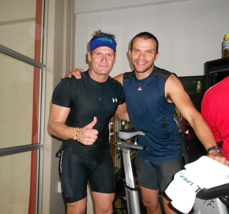 Francesco and Warren, two spinning instructors at Virgin Active. This was taken at our Spinathon for rhinos at Old Eds.  Buy RHINO FORCE bracelets www.beadcoalition.com