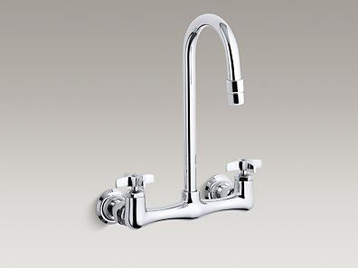 triton double cross handle utility sink faucet with rosespray gooseneck spout - Utility Sink Faucet