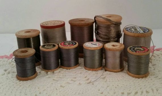 Vintage Gray Thread Collection Wooden Spools of by FlatRockGoods