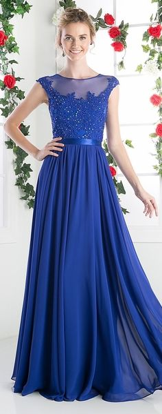 Sheer Neckline Evening Dress Royal Blue #discountdressshop #royalbluedress…
