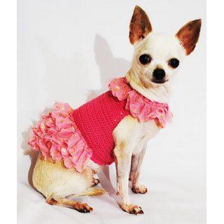 Barbie Dog Dresses Pink Peach Fluffy Tulle Gold Glitter por myknitt