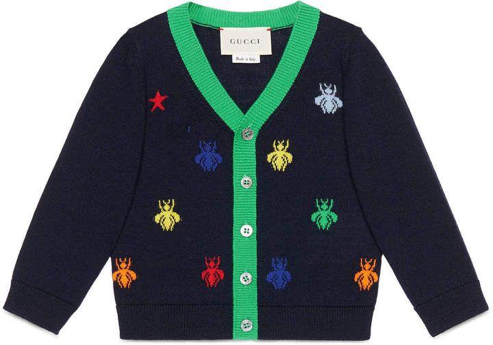 9c41c80e2 Baby bees and stars jacquard merino cardigan  Gucci  ShopStyle ...