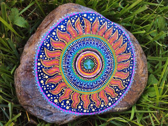 Every day is Earth Day Hand Painted Mandala Art on River Rock. $54.00, via Etsy.