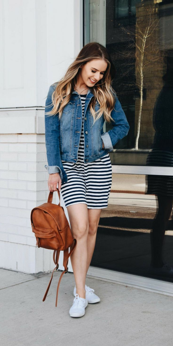 42fe2d2e7f Striped black and white tshirt dress layered with a denim jacket ...