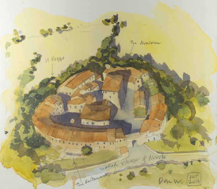 """An aerial sketch of the tiny village of Murlo, where we have the lovely """"Pozzo"""" house for rent. The village looks tiny but it does have an excellent Etruscan museum and a rather good restaurant too!"""