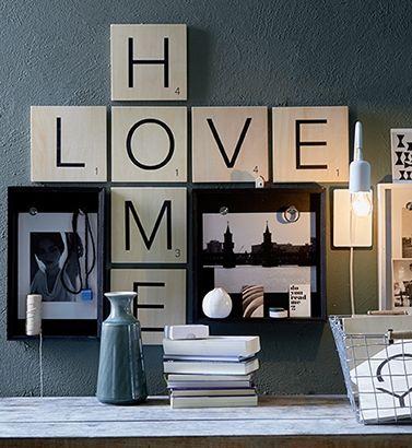 Grote scrabble letters voor aan de muur