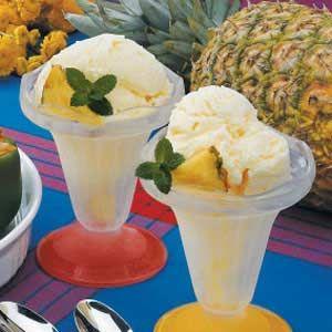 Pineapple Ice Cream. Ingredients: milk, sugar, eggs, heavy whipping cream, pineapple
