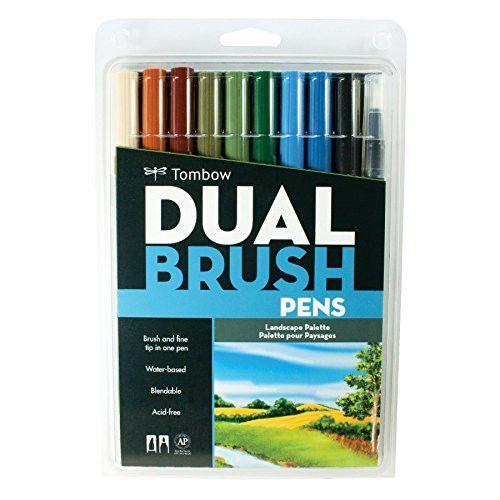 Tombow Dual Brush Pen Art Markers - Landscape 10 Pack