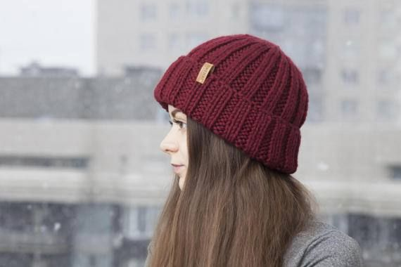 Vinous Cozy Knit Hat for Women Hand Knitting Cloche by OneHatStore