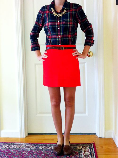 Snappy casual: Christmas Eve outfit :)  Top: J. Crew Factory, Skirt:  J.Crew Factory, Belt: Target, Necklace: J.Crew, Shoes: Cole Haan (seabelle)