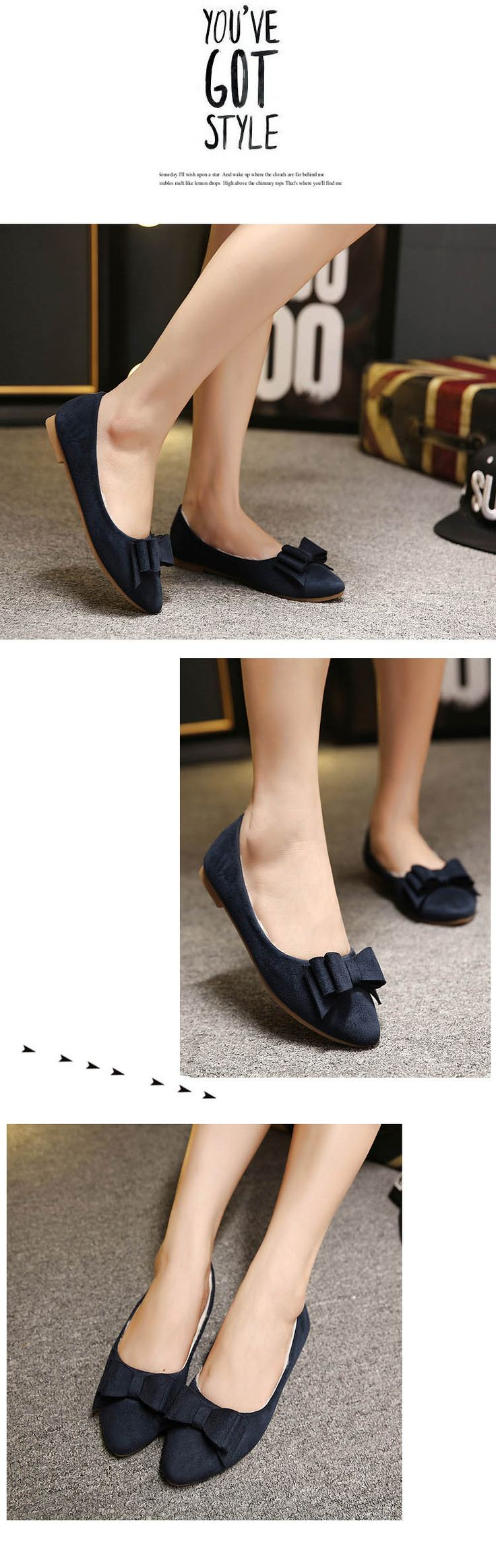$13.50 -Fashion Pointed Toe Flat Shoes | Upper Material: Leather Outsole Material: Rubber Heel Height: 1 cm Color: Red, black, deep blue Style: Pointed toe bowknot flat