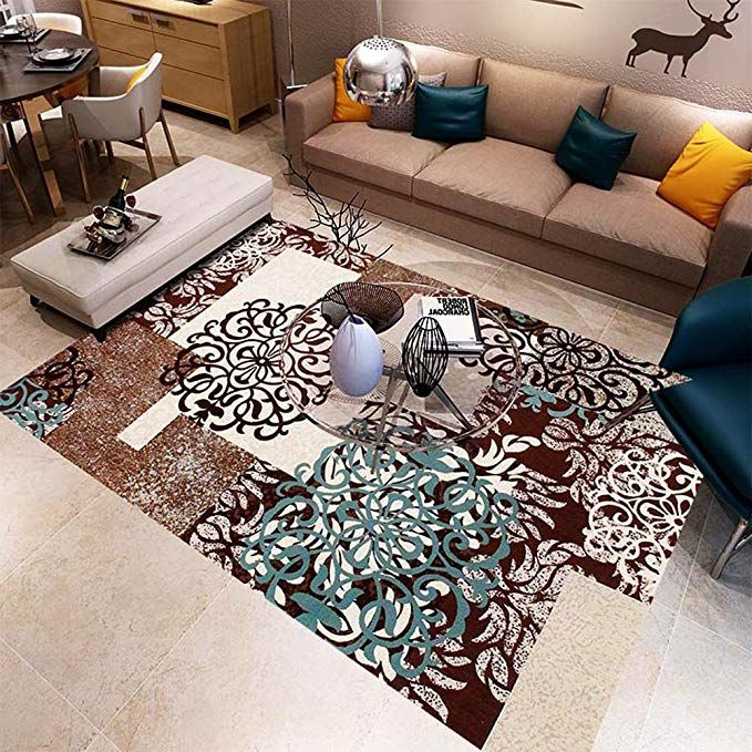 Maxyoyo Brown Floral Printing Carpet Rug Living Room Square Area