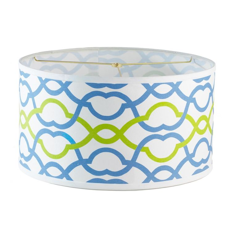 Turquoise and Lime Green Chippendale Ribbons Drum Lamp Shade
