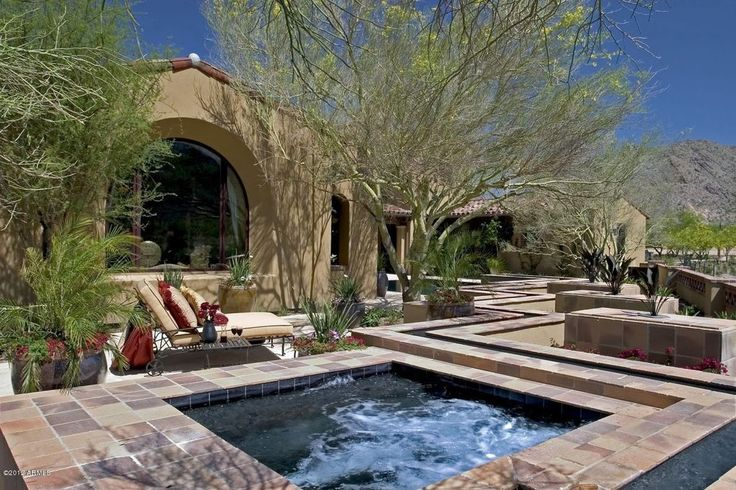 Southwestern Hot Tub with exterior tile floors