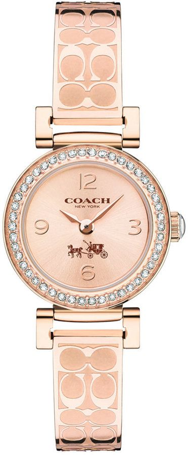 Coach Womens Signature Etched Rose Gold-Plated Bangle Bracelet Watch 24mm 14502203