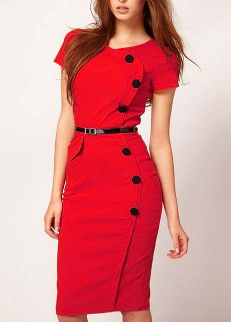 Fashion Red Cotton Blend Button Decoration Short Sleeve Dress