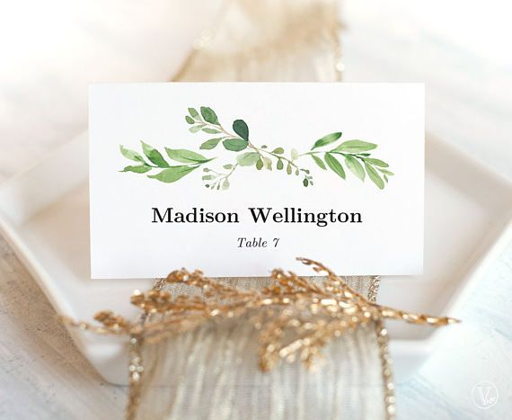 Printable wedding place card and matching escort card templates. Garden greenery place cards. These are INSTANT DOWNLOAD editable and printable templates that are affordable and stylish. Print on white or cream paper for a modern chic style.  ––––––––––––––––––––––––––––––  SIMPLE & EASY TO USE 1. Download the PDF file(s) 2. Open with Adobe Reader — Free download at: www.get.adobe.com/reader 3. Update editable text fields and save (Your names, wedding date, etc.) 4. Print at home or your loca...