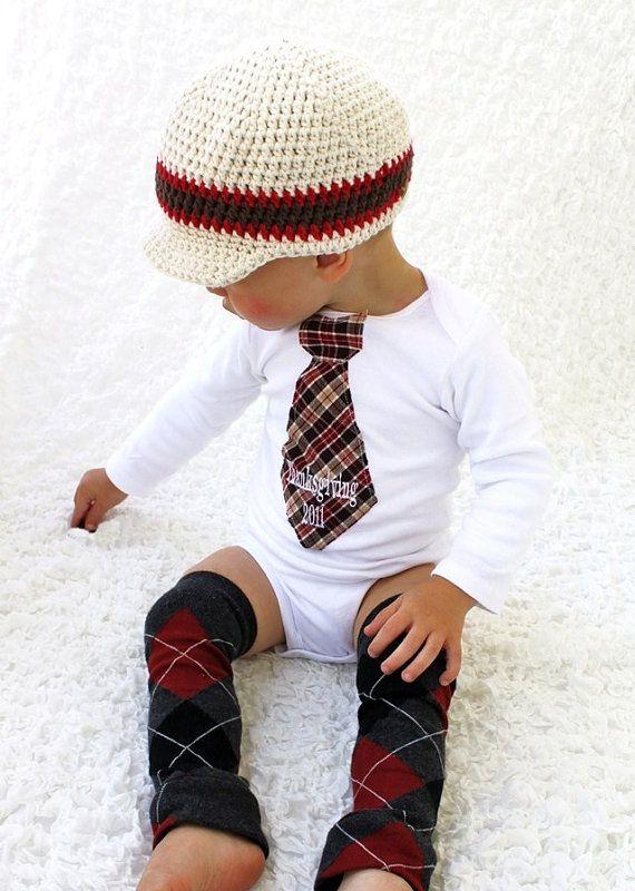 argyle baby leggings, onesie with plaid tie, crocheted newsboy hat @Andrea McArdle @Meghan Fuller