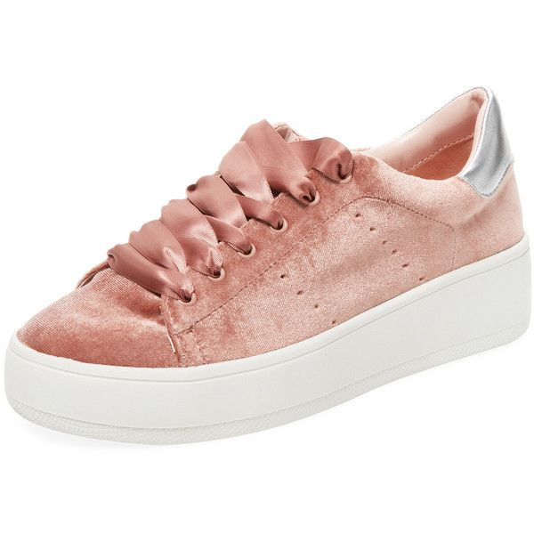 Steven by Steve Madden Women's Bogart Velvet Low Top Sneaker - Red (110 TND) ❤ liked on Polyvore featuring shoes, sneakers, red, low top platform sneakers, platform wedge sneakers, platform sneakers, red sneakers and lace up sneakers