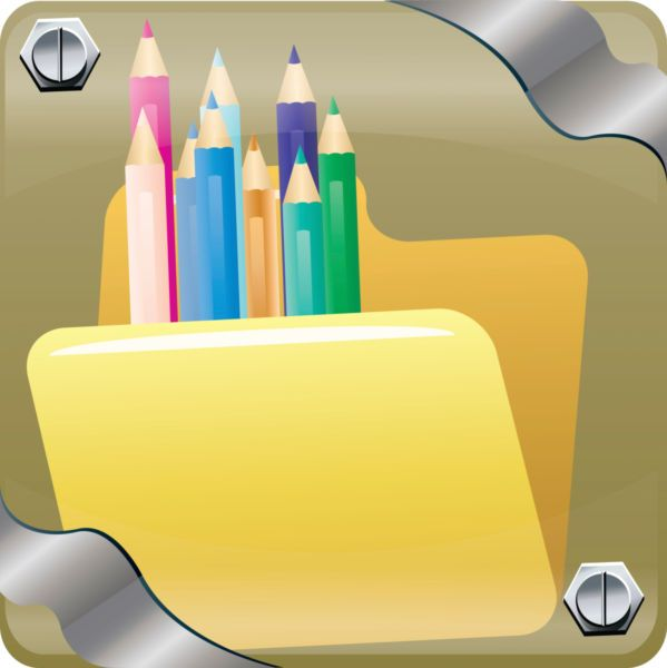 Vector image of color pencils inside web folder. - Stock photo