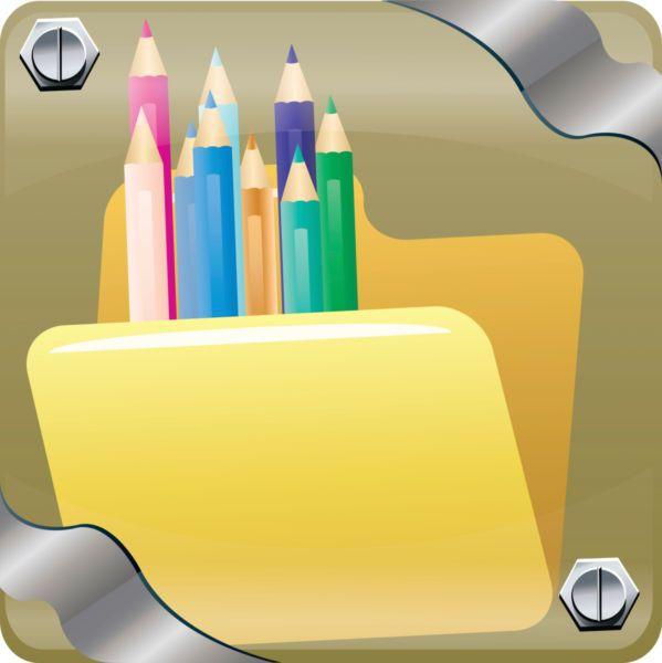 Vector image of color pencils inside web folder. - Stock photo