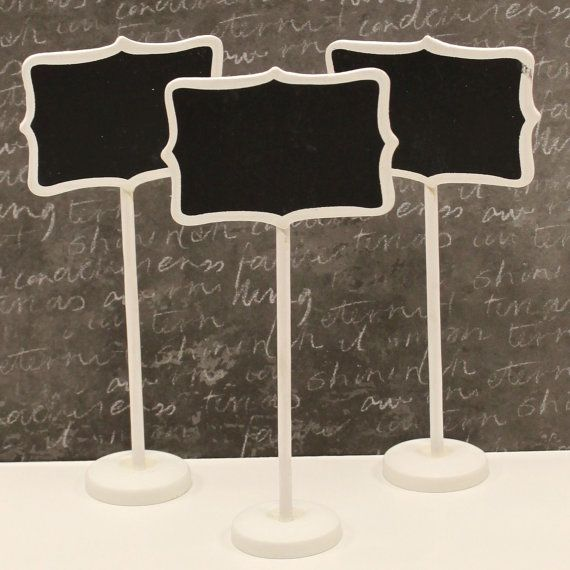 Elegant Chalkboard Stands ( 3 ) White Wood Chalkboard Signs, Candy Buffet Table,  Name Place Setting, Food Buffet Signs, Wedding Escort Table Markers