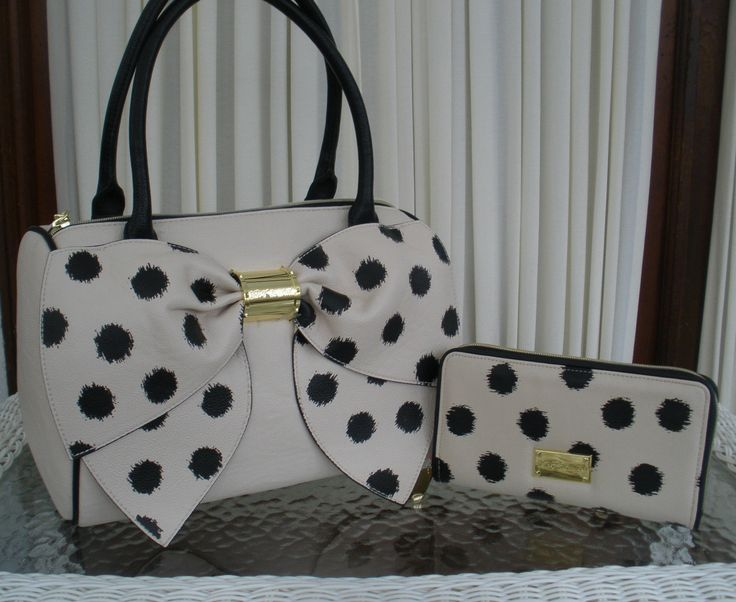 Betsey Johnson Bow Nanza Satchel Purse Handbag Ikat Dots Wallet Bone Black | eBay. Weirdly adorable!!! ❤️