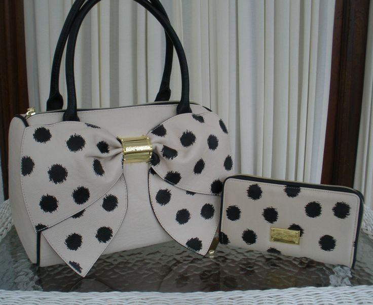 Betsey Johnson Bow Nanza Satchel Purse Handbag Ikat Dots Wallet Bone Black | eBay. Weirdly adorable!!! ❤️