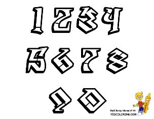 Printable Graffiti Numbers Chart at YesColoring