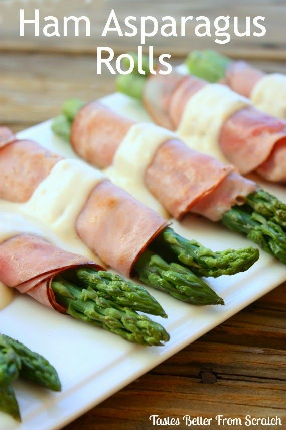 Ham Asparagus Rolls-- The tastiest sides, served with a cheesy bechamel sauce! Tastes Better From Scratch #ham #asparagus