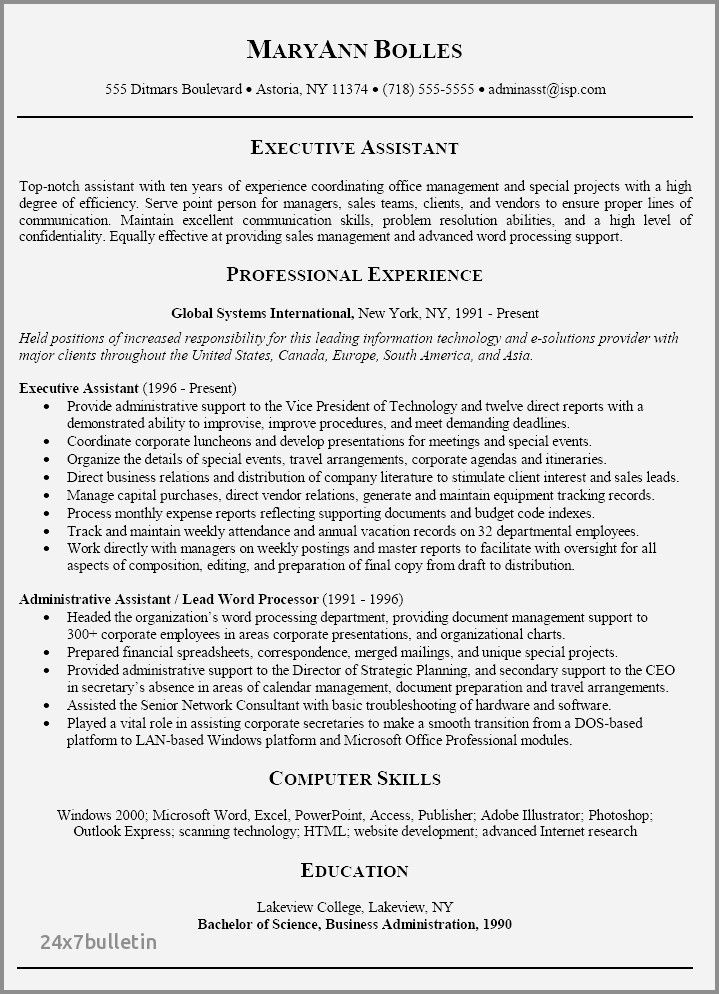 73 Elegant Stock Of Resume Examples For Executive Assistants