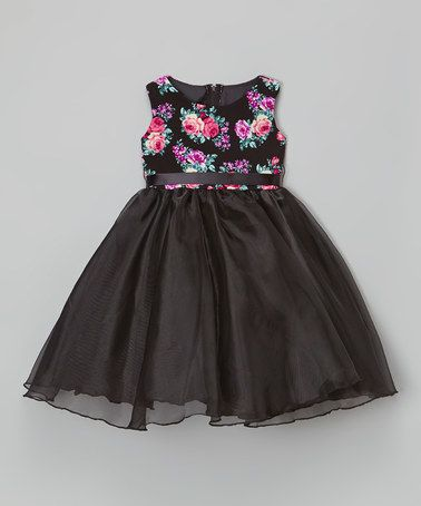 Another great find on #zulily! Black & Pink Rose Dress - Infant, Toddler & Girls #zulilyfinds