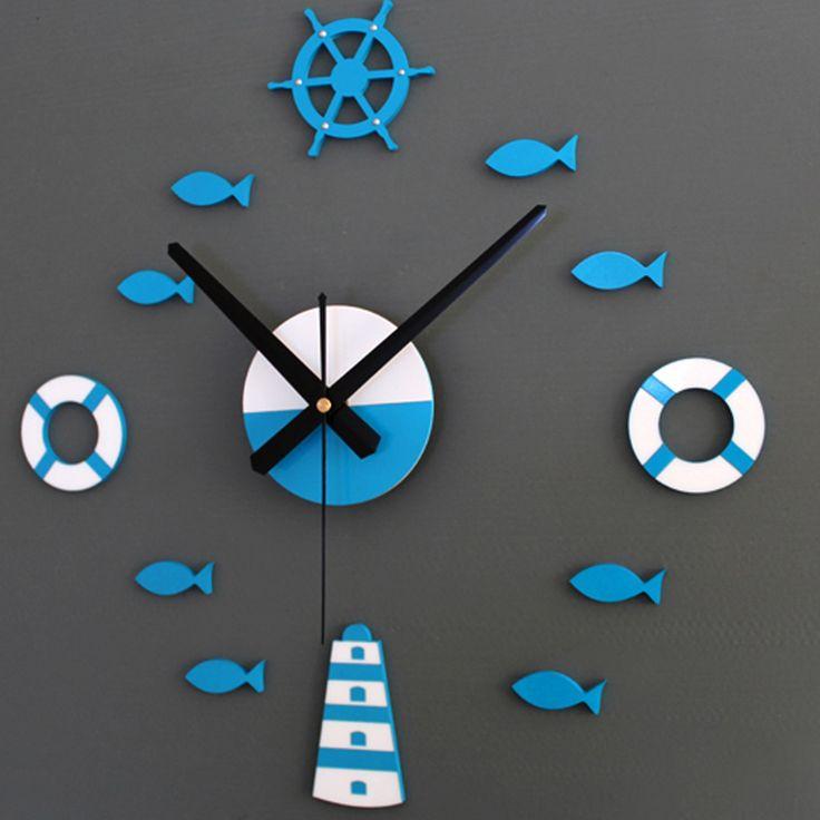 3D DIY Mediterranean Ocean Kids Nursery Room Wall Clock Home Decor Living Room Acrylic Clock Fashionable Cute Fish Tower Clock