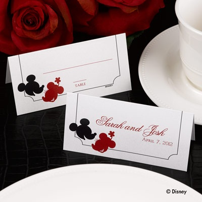 love place card this shimmery place card features mickey and minnie mouse silhouettes in red wedding place
