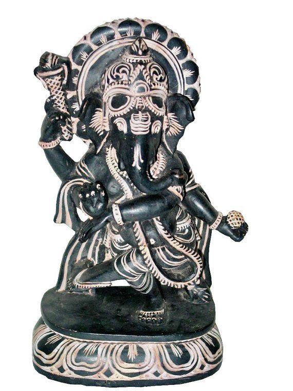 Ganesha Stone Statue Yoga Interior Decor Hindu Art by MOGULGALLERY