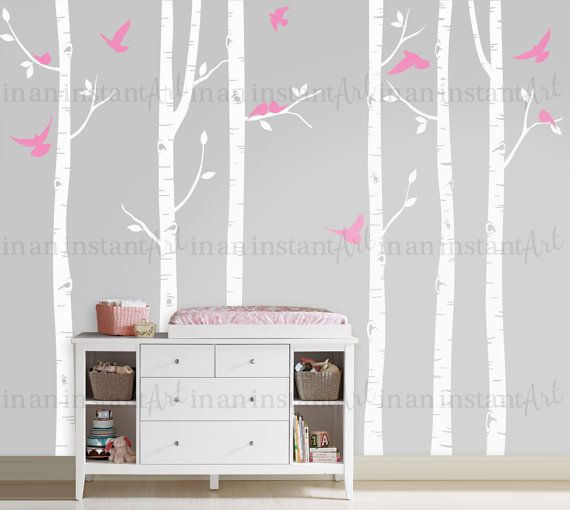 Wall Decal Six Tall Birch Trees with Scattered by InAnInstantArt
