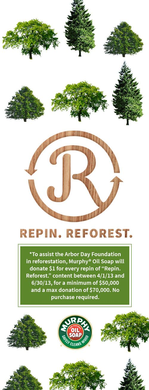 At Murphy® Oil Soap we love wood so much that we've taken our commitment to the next level by teaming up with the Arbor Day Foundation. Now when you repin any one of our images, we'll donate $1 to help with reforestation.* So get repining!