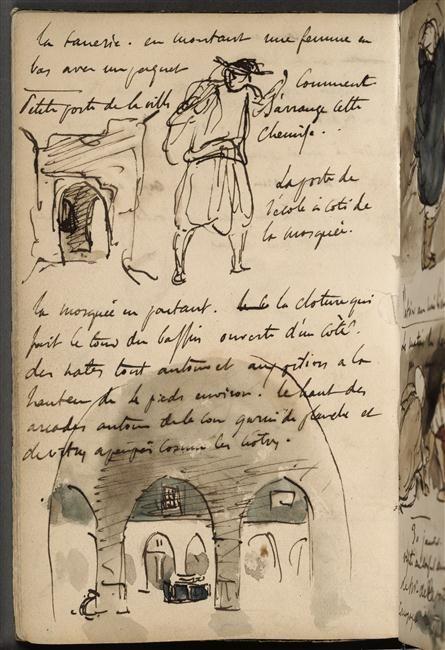 Eugène DELACROIX, Croquis d'une petite porte et d'un arabe, et vue de la cour d'une mosquée, Musée du Louvre, Photo (C) RMN-Grand Palais (musée du Louvre) / Michèle Bellot.