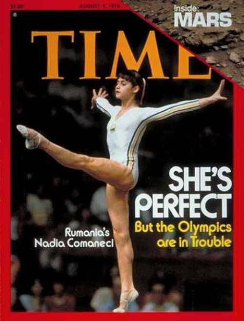 Nadia Comaneci on the cover ofTimemagazine, August 1976.